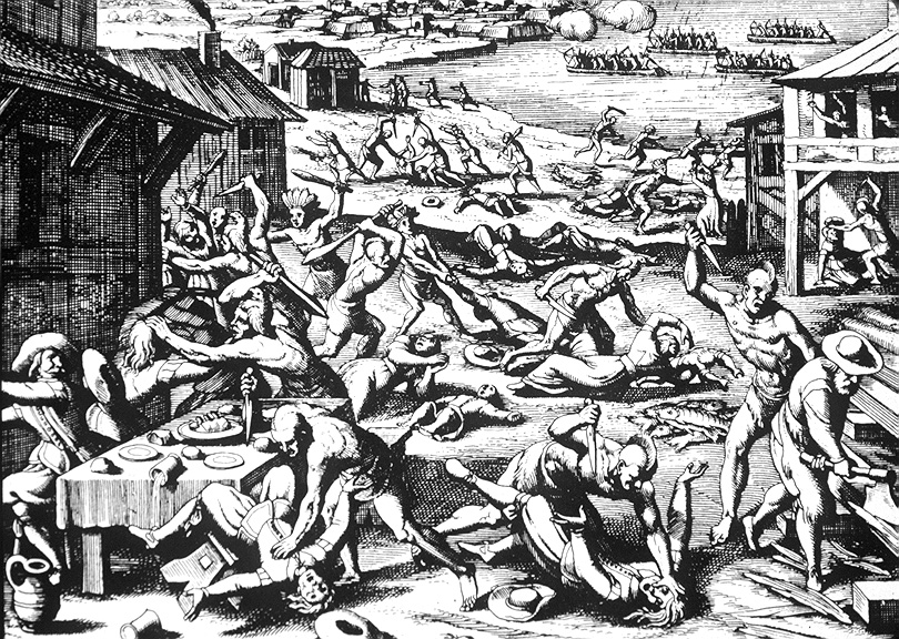 1622 massacre of the Jamestown colony by Powhatan Indians. Woodcutting by Matthaeus Merian, 1628 - Wiki Commons