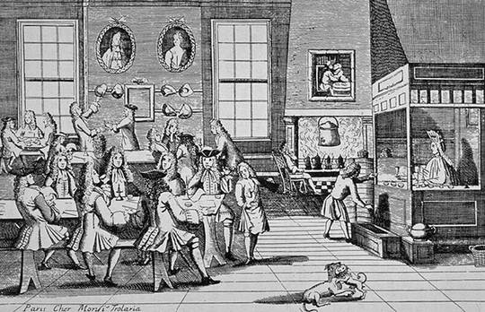 Interior of a London coffee house c1705