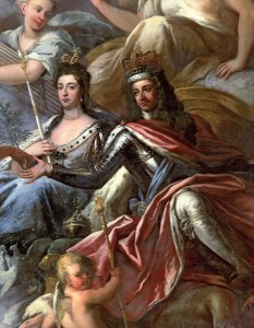 William III and Mary II depicted on the ceiling of the Painted Hall, Greenwich, London