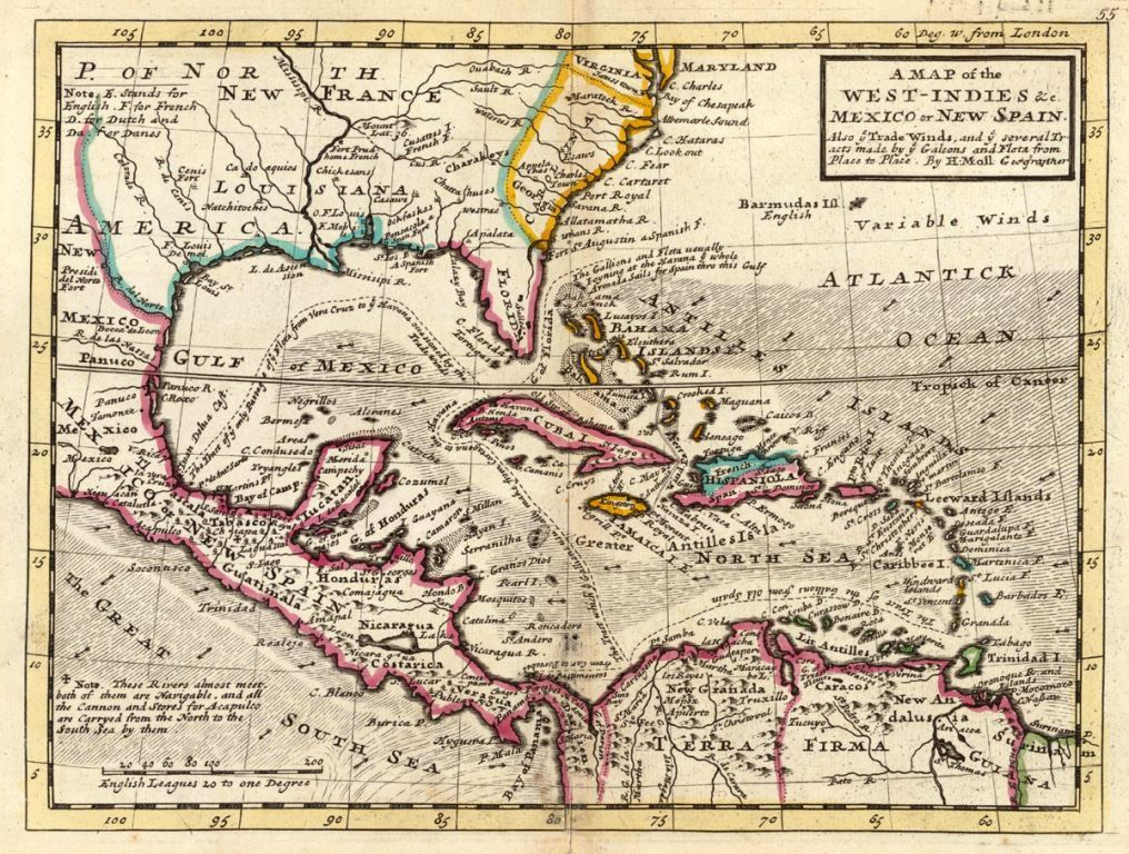 Spanish West Indies Map by Herman Moll - 1736