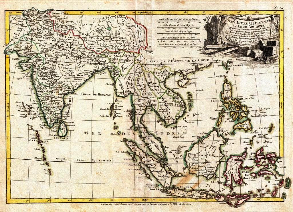 "Map of the East Indies by R. Bonne c. 1770. Les Indes ""Orientales et Leur Archipel"" published for Jean Lattre's 1776 issue of the Atlas Moderne."