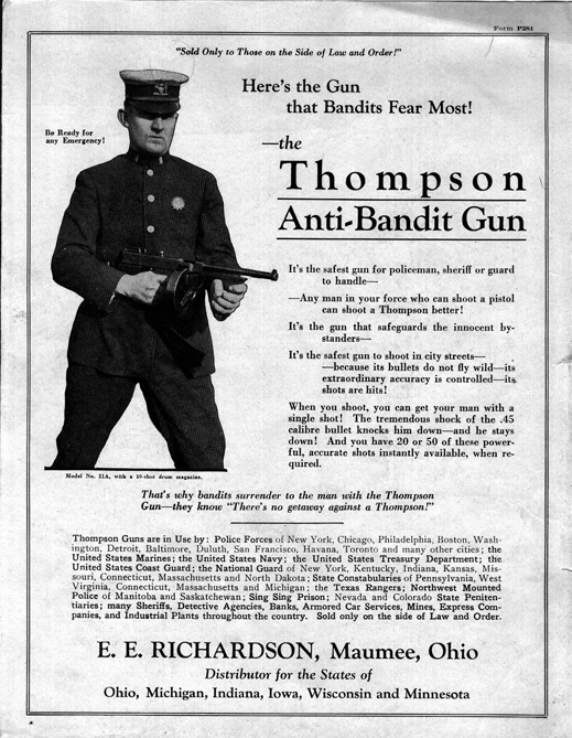 "Advertisment for the Thompson M1921 ""Tommy Gun"", c.1922"