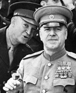 Marshal Zhukov [right] and General. Eisenhower about to drink a toast (not Coke), June 1945