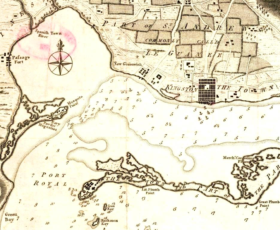 'A Draught of the Harbors of Port Royal and Kingston' 1782 by J Bew. Port Royal is located on the peninsular end.