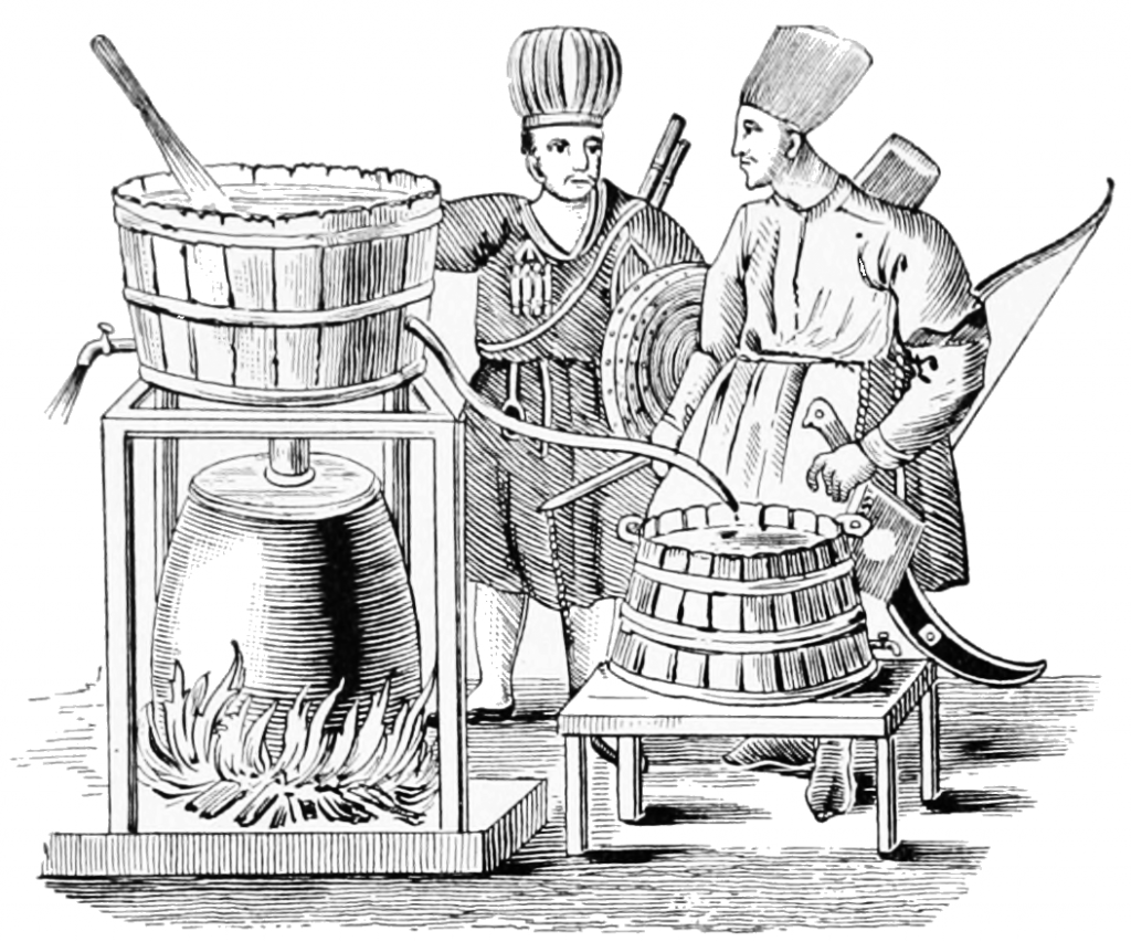 Etching of Tartars distilling arrack from kumis, c1897