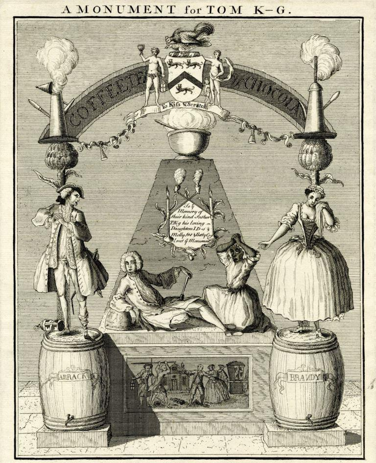 "The etching shows Tom King lounging on an upturned punch bowl with his famous barmaid Black Betty lamenting over him. To the left a drunken Rake with broken sword stands upon a barrel of arrack while a teary prostitute stands opposite on a barrel of brandy. ""A Monument for Tom K-G"" by William Hogarth, c1736 - c/o"