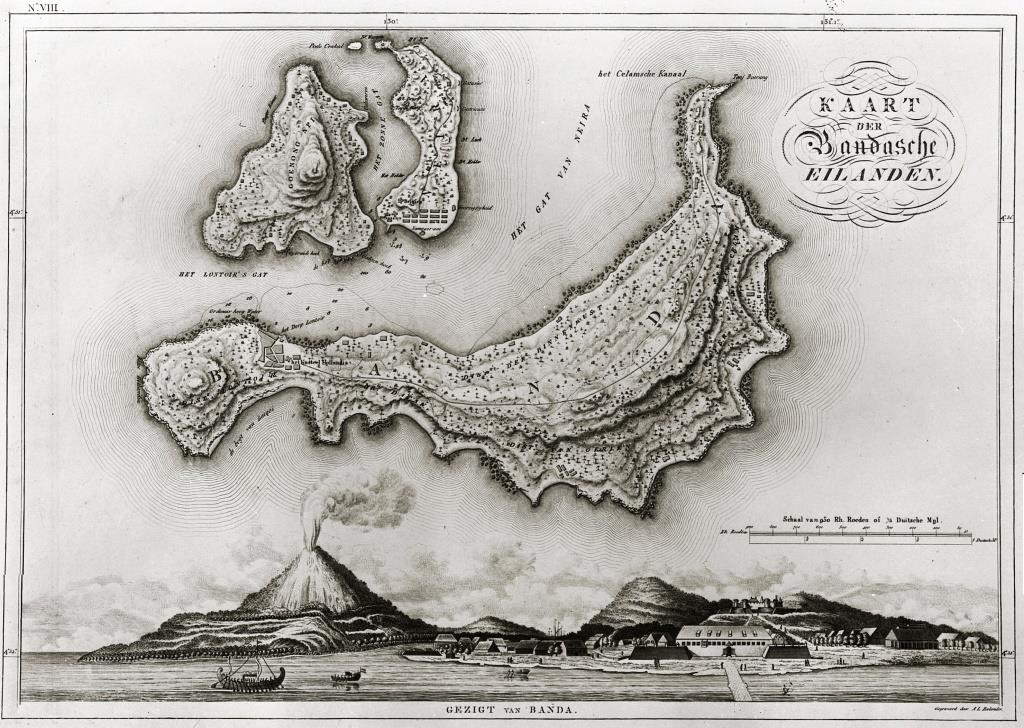 Early Dutch map of the Banda Islands circa 1820 - [click to enlarge]