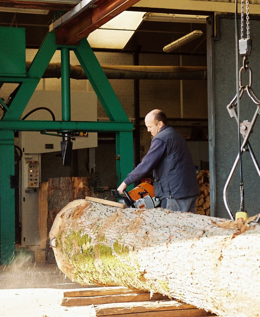 New 'green' oak log arriving into a Courvoisier cognac mill