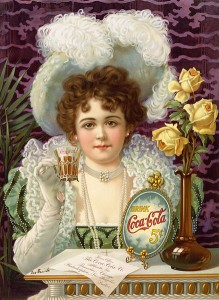 Early Coca-Cola advert showing the companies first model Hilda Clark, c. 1890's