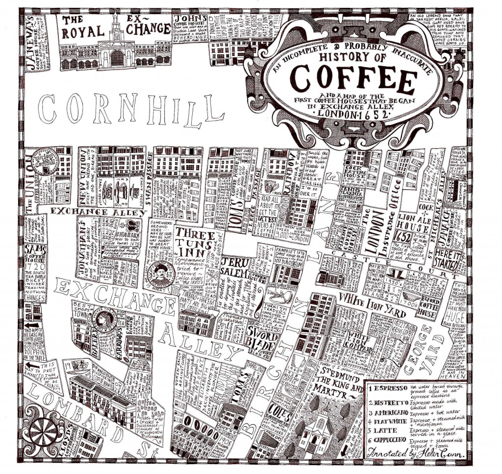 Map of Coffee Houses c.1652 - c/o Helen Cann