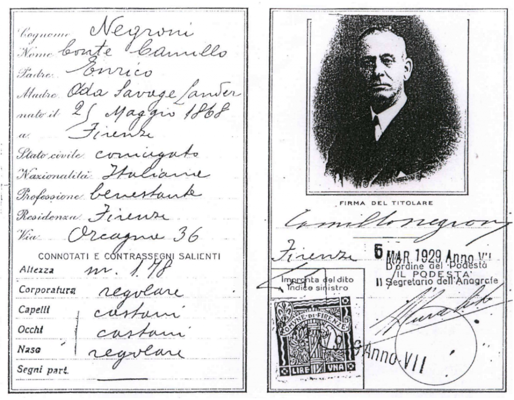 Identification documents clearly stating Count Camillo Negroni, born Florence, Italy, 1868 - c/o Robert Hess, Chanticleer Society