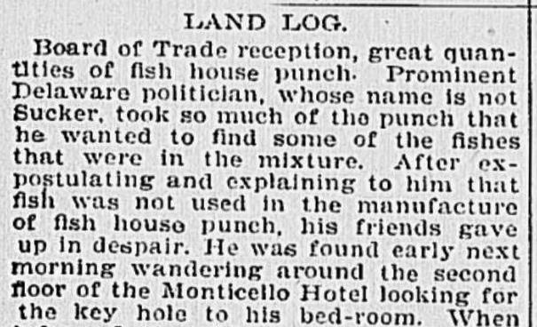 The side effects of drinking too much Fish House Punch - Virginian Pilot newspaper, Norfolk, Va. October 26, 1899 - c/o Library of Congress