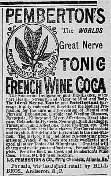 Early advert for Pemberton's tonic. The Anderson Intelligencer, March 11, 1886 – courtesy of Library of Congress Archives