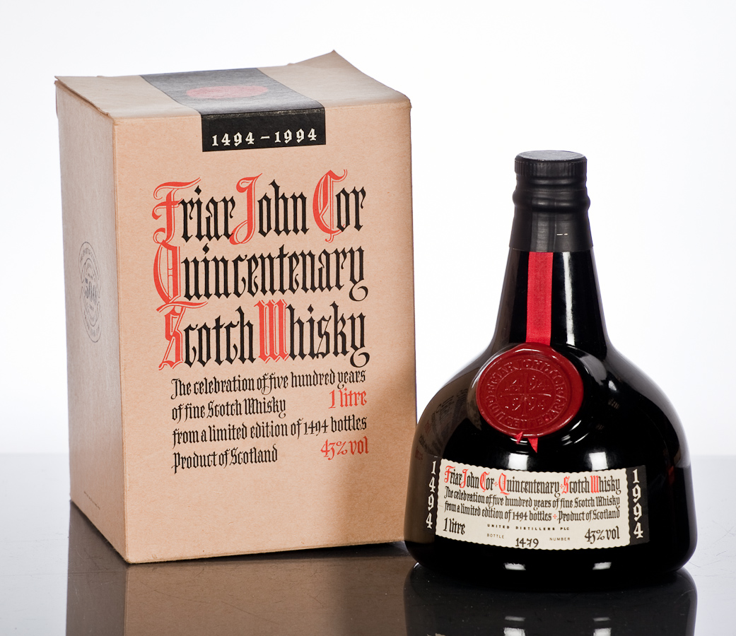 Friar John Cor Quincentenary Scotch Whisky. From a limited edition of 1494 bottles - McTear's Auctioneers, Glasgow.