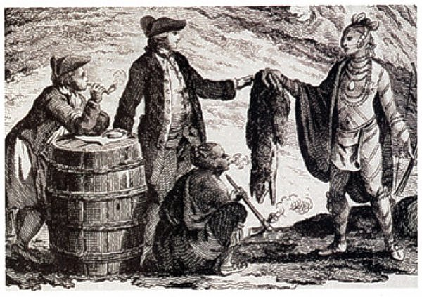 Fur traders in Canada, trading with Indians by William Faden c1777 - Library and Archives Canada