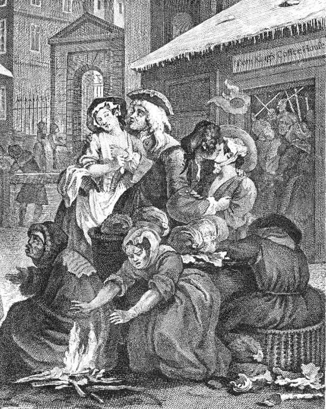 Taken from Times of the Day - Morning by Willaim Hogarth.  Shows harlots and the poor outside Tom Kigs coffe House in Covent Garden