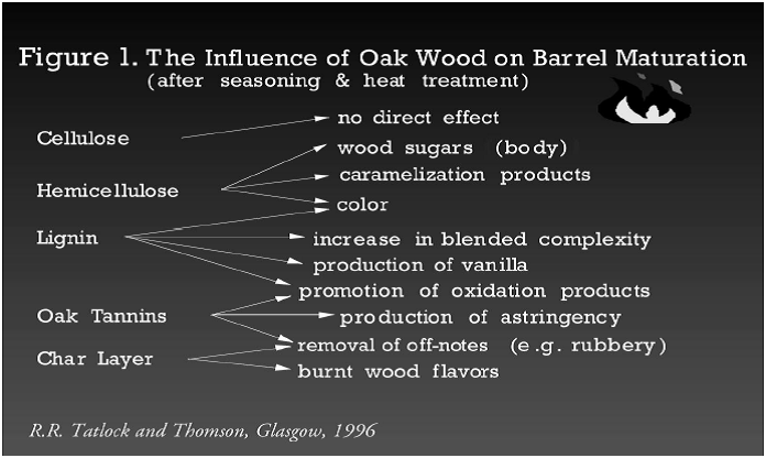 Influence of oak chemical compunds on flavour
