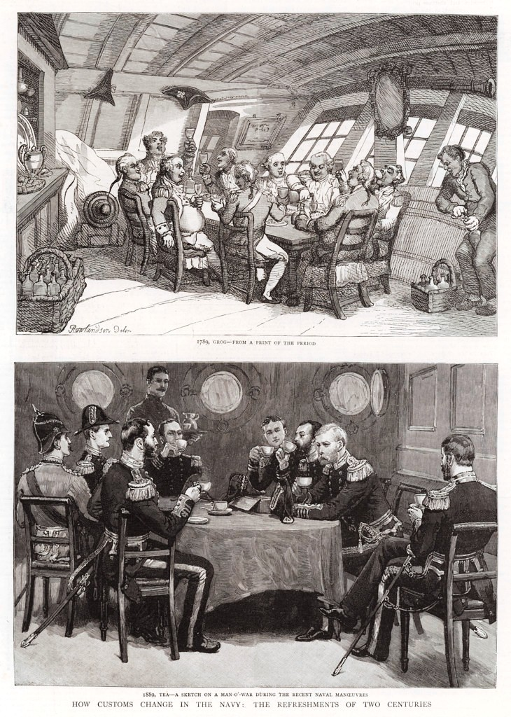 'How Customs change in the Navy, the Refreshments of Two Centuries'. Illustration for The Graphic, 14 September 1889. Lookandlearn.com Licence U207775
