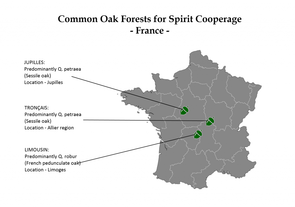 Common French oak forests for spirit cooperage [authors own image made with freevectormaps.com]