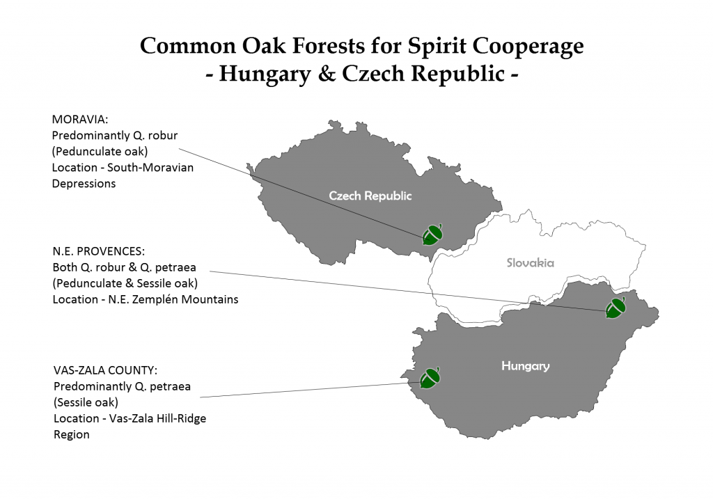 Common central European oak forests for spirit cooperage [authors own image made with freevectormaps.com]