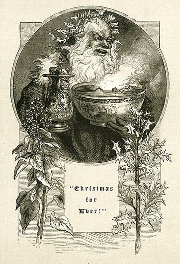 'Old Christmas with the Bowl and Holly' by John Gilbert, 1879