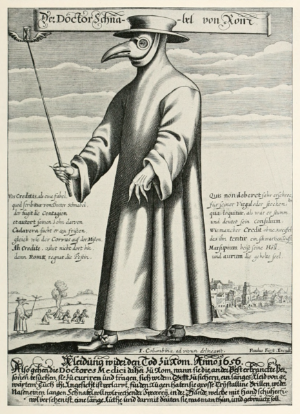 Copper engraving of Doctor Schnabel (a.k.a. Dr. Beak), a Roman plague doctor, 1656