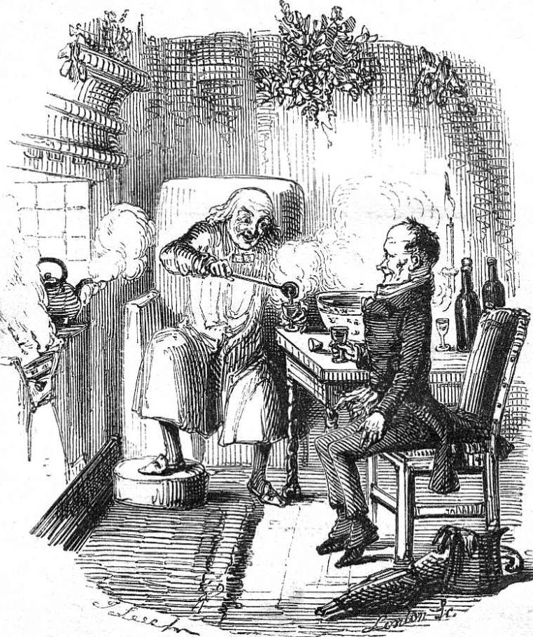 Ebenezer Scrooge sharing a smoking hot bowl of Bishop punch with Bob Cratchit. From 'A Christmas Carol' by Charles Dickens,