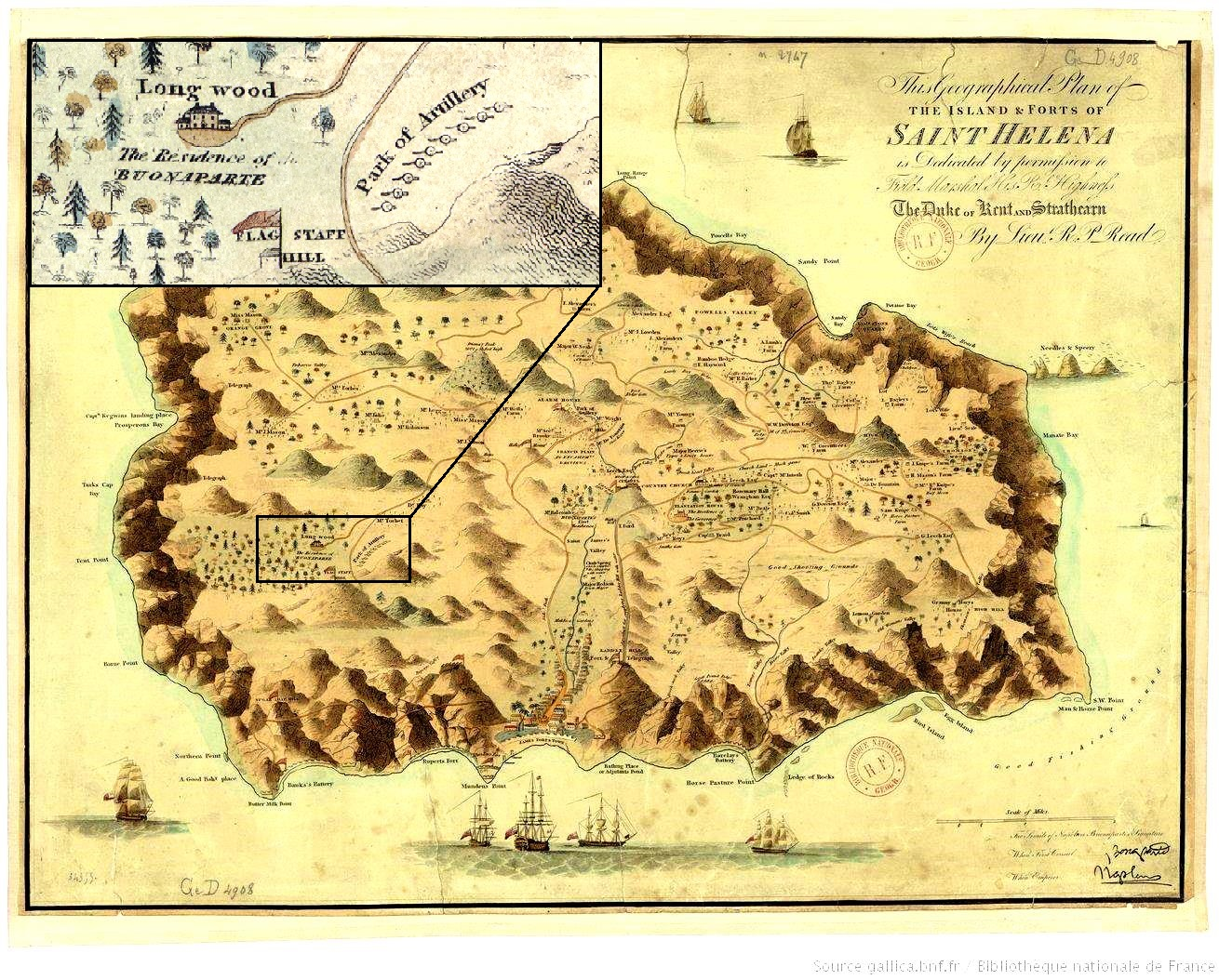 Map of St Helena by Lieutenant Read, 1815.  Longwood House insert - c/o Bibliothèque Nationale de France
