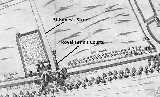 St James's Palace & Pall Mall map by Fairthorne & Newcourt 1658