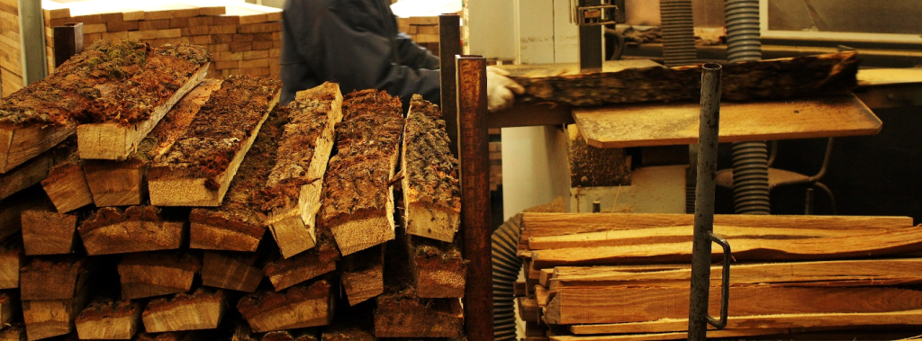 The sawing of green Quercus staves at a Courvoisier cognac mill - Authors Own Image