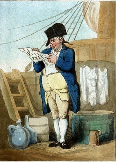 "A Royal Navy Pusser checking his volumes. Taken from ""The Purser"" by Thomas Rowlandson, c. 1799"