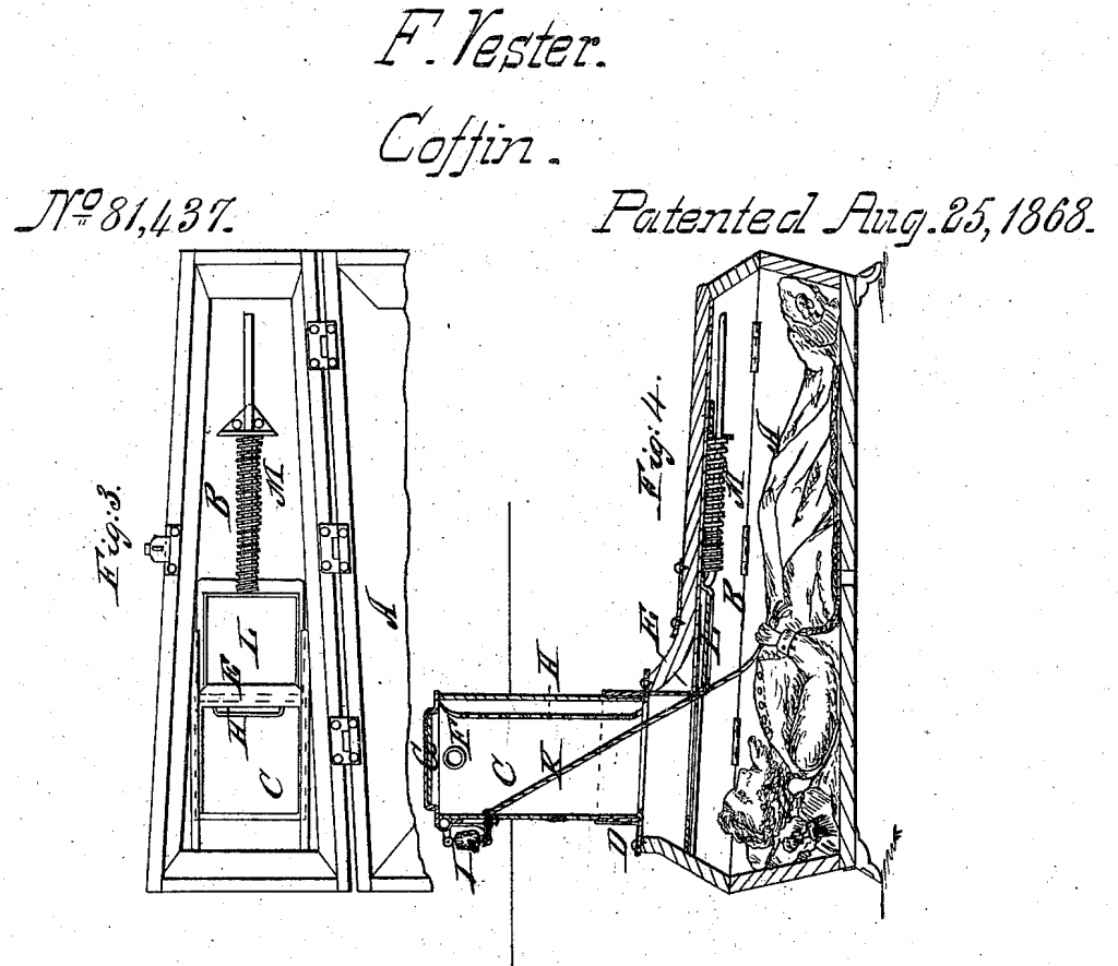 "Franz Vester's ""Burial Case"" patent, 1868.  Incorporating pulleys, bells, a viewing tube and escape hatch"