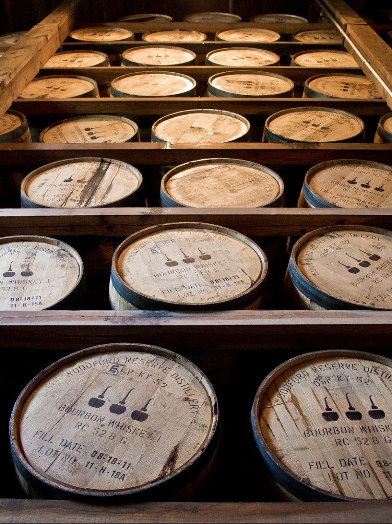 Barrels of Woodford Reserve bourbon maturing in a Kentucky rickhouse - c/o Wikimedia Commons