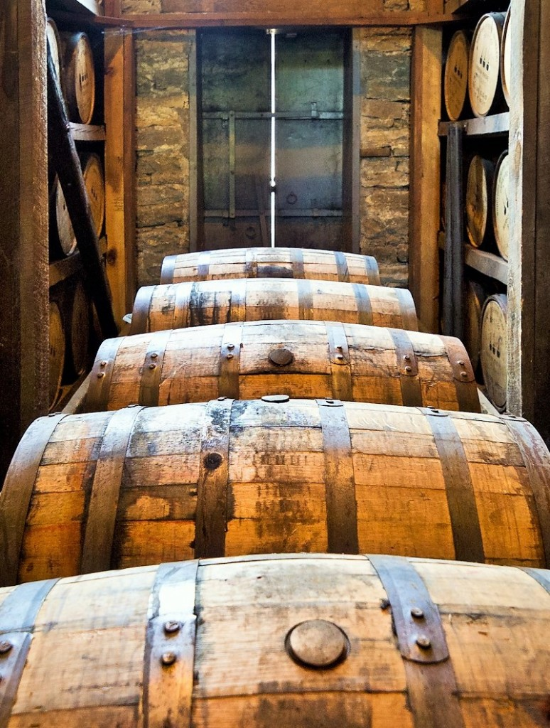 Kentucky bourbon maturing in a Woodford Reserve rickhouse - c/o Wiki Commons
