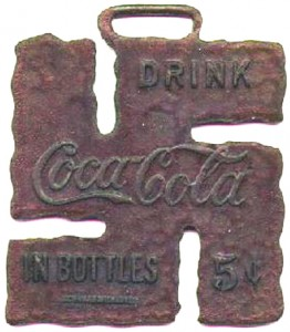 Coca-Cola brass watch fob, 1925
