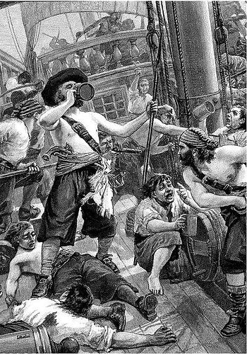 Drunken sailors. Believed to be a depiction of the final moments of Blackbeard (Edward Teach) when his crew were too drunk to defend themselves.