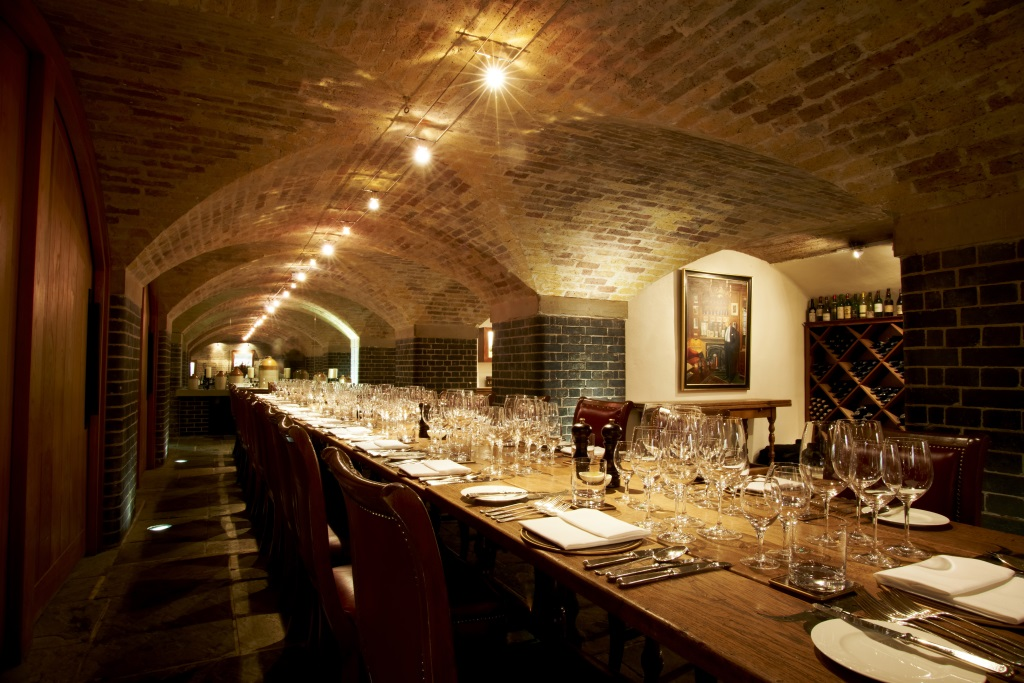 A lunch banquet in the Napoleon Cellar at Berry Brothers & Rudd store