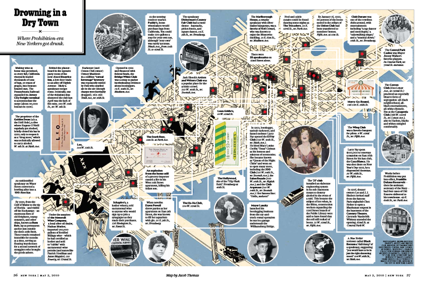 Map of Manhattans most popular prohibition bars - c/o Jacob Thomas and The New York Mag